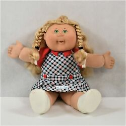 Jakks Pacific Blond Hair Green Eyed In Blue Plaid Dress Cabbage Patch Preowned