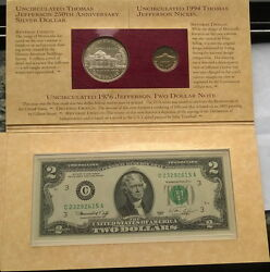 United States 1993 Thomas Jefferson Dollar Silver Coin Banknote,unc