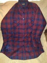 Sports Afield Red And Blue Flannel Insulated Shirt/jacket Size Xl
