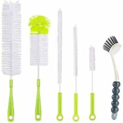 6pcs Bottle Cleaning Brush Set-long Handle Water Cleaner For Washing Wine Sports