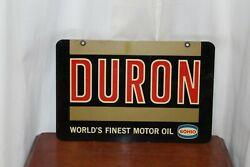 1940s Sohio Duron Worlds Finest Motor Oil Double Sided Metal Sign