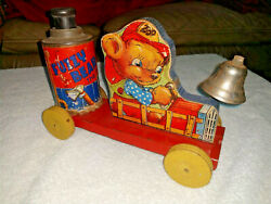 Vintage Antique 1930's Gong Bell Co. Pull Toy Fuzzy Bear The Fireman