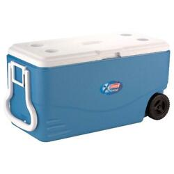 Coleman 100 Quart Xtreme 5 Day Heavy Duty Cooler With Wheels Blue