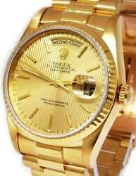 Rolex Day-Date President 18k Yellow Gold Tapestry Dial Mens 36mm Watch 18238