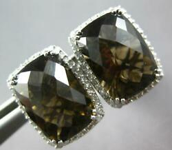 Large 10.76ct Diamond And Aaa Smoky Topaz 14kt White Gold Clip On Hanging Earrings