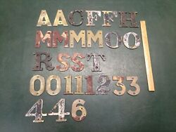 Mixed Lot Of 27 Vintage Bronze 3 Sign House Boat Letters And Numbers