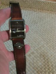 Vintage-hersheyand039s- 806 Brown Stitched Leather Watch New Battery Runs Well 1984and039