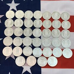 1868-1870 1873 Belgium Silver 5 Franc Coin Lot As Pictured 91 High Grade Coins
