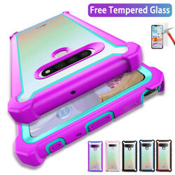 For LG stylo 6 Case Clear Shockproof Hybrid Armor Bumper Cover Tempered Glass $8.99