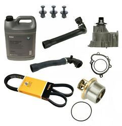 Cooling System Kit Water Pump Thermost Hoses Belt Antifreeze Gallon For Bmw E46