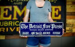 Real The Detroit Free Press Newspaper Michigan Gas Oil Porcelain Metal Sign