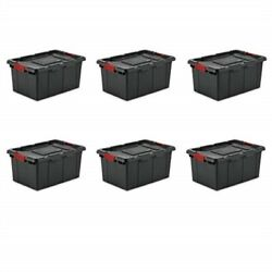 Sterilite 14649006 15 Gallon/57 Liter Industrial Tote Black Lid And Base W/ Racer