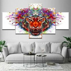 Colorful Abstract Lion 5 pcs HD Art Poster Wall Home Decor Canvas Print