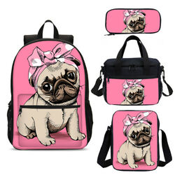 Cute Pink Pug Girls Schoolbag Cooler Insulated Lunch Box Pencil Case Lot