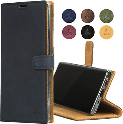 Samsung Galaxy Note 10 Case Genuine Leather Wallet with Viewing Stand and Card