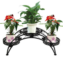 Wrought Iron Strong Metal Arch Pot Plant Stand Indoor Outdoor Garden Patio Decor