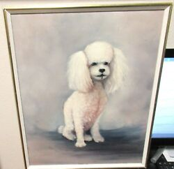 Me Phail Original Oil On Canvas White Poodle Dog Painting