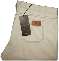 $570 NEW GUCCI NATURAL LOW RISE SKINNY FIT JEANS w LEATHER PATCH e54  $367.50