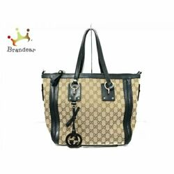 Gucci Handbag Gg Pattern 247281 Beige Brown Dark Green Jacquard Leather Arrival $749.00