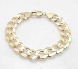 14mm Wide Mens Solid Curb Cuban Link Chain Bracelet Real 10k Yellow Gold