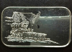 Frontier Wagon 1 Troy Ounce Silver Bar .999 Silver Towne 1982
