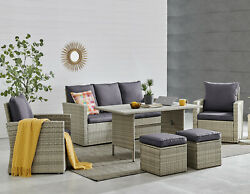 6 Pcs Wicker Rattan Patio Furniture Outdoor Pool Dining Table Cushion Seat Set