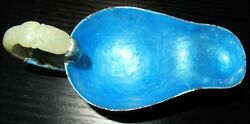 Chinese Translucent Celadon Green Carved Jade Handle Enamel Bowl Cup