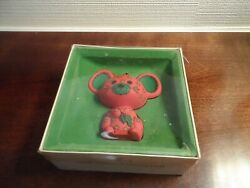 Vintage Hallmark 1978 Tree-Trimmer Ornament  Red Calico Mouse Red with Box