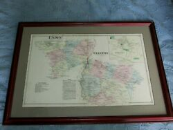Framed Antique 1800's Map Of Union, Clinton And Lebanon New Jersey,property Owners