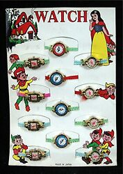 Snow White And 7 Dwarfs Toy Watch Store Display Card Old Unsold Store Stock Japan