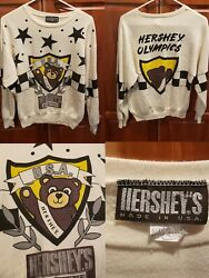 Vintage 70's Hershey's Chocolate Olympics Bear Hipster Pullover Sweater Large