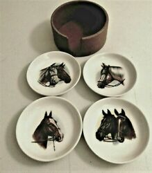 4 Japanese Porcelain Equestrian Horse Coasters Butter Pats W Holder
