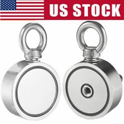 Round Double Sided Super Strong Neodymium Fishing Magnet 500/700lb Pulling Force