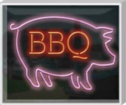 Outdoor Xl Bbq With Pig Neon Sign | Jantec | 32 X 27 | Bar And Grill Hot Dog