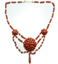 Antique Victorian 14k Gold Coral Bead Necklace