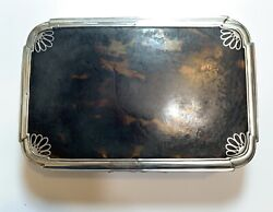 Antique Rare Charles And Richard Comyns Victorian Silver Tortoise Shell Lidded Box