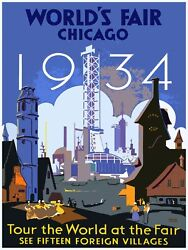 Decoration Poster.Chicago World Fair shop decor.Interior dorm room design.11440