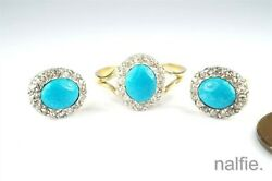 Antique English 18k Gold And Silver Turquoise Diamond Ring And Earrings Set C1900