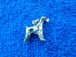 2 PUREBRED ANIMAL PET Airedale or Fox Terrier 3D PEWTER CHARMS All New.