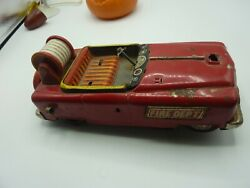 Vintage Tin Toy Battery Operated Fire Truck Car Tn Marked Nomura Japan Parts