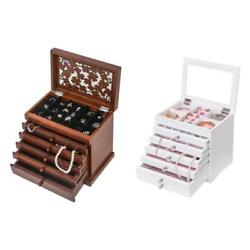 Jewelry Box Case Built in Ring Earring Necklace Organizer Storage White Brown $34.99