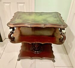 Antique Mahogany Green Leather Top Table Sofa Side End Entry Console Hallway Vtg