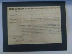 New York Governor Dewitt Clinton Signed 1822 Legal Document New York State Seal