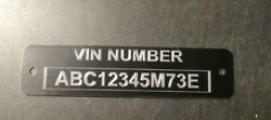 Black Car Serial Number Vin Plate With Engraving Included + Free Shipping