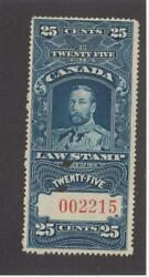 Canada Bob Fsc15 Vf-mnh Kgv 25cts Law Stamp Cat Value 750 Free Shipping
