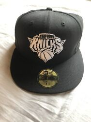 New Era New York Knicks 59fifty 5950 Hat Black Bottom 7 1/8 Rare Fitted Cap Nyc