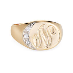 Letter N Signet Ring Vintage 14k Yellow Gold Crescent Moon Celestial Oval Sz 7