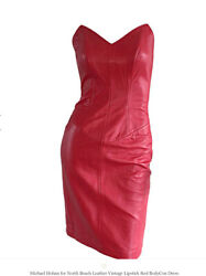 Rare Vintage 80s Michael Hoban North Beach Leather Dress Strapless Buckle Xs