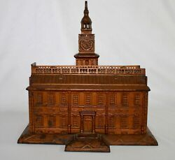 Antique Cast Iron Still Coin Bank Shaped Like Independence Hall. Created In 1875