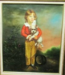 H. Johan Girl With Terrier Dog Original Oil On Canvas Painting